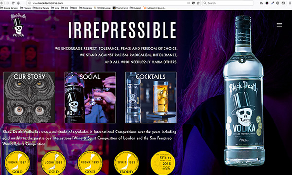 Black Death Vodka Website